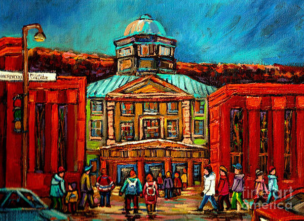 Montreal Scenes Painting - Mcgill Gates Montreal by Carole Spandau