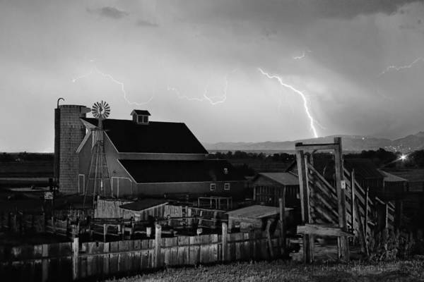 Photograph - Mcintosh Farm Lightning Thunderstorm Black And White by James BO Insogna