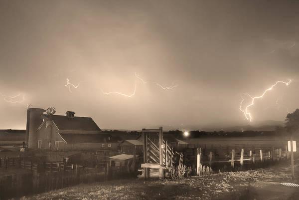 Photograph - Mcintosh Farm Lightning Thunderstorm View Sepia by James BO Insogna