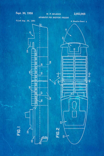 Freight Wall Art - Photograph - Mclean Shipping Container Patent Art 1958 Blueprint by Ian Monk