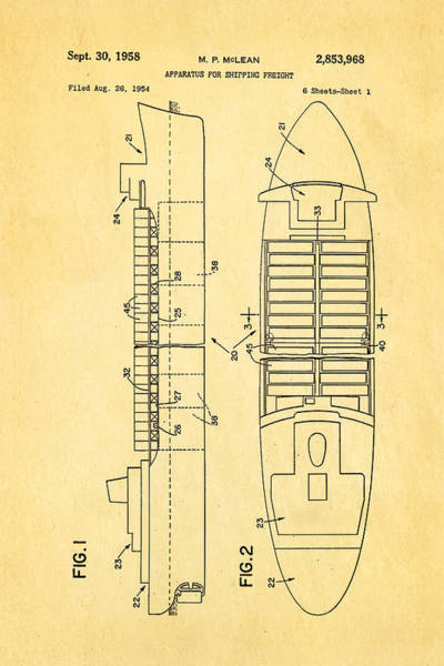 Seamen Photograph - Mclean Shipping Container Patent Art 1958 by Ian Monk