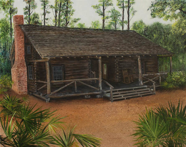 Painting - Mcmullen Log Cabin by Nancy Lauby