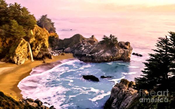 Nadine Painting - Mcway Falls Pacific Coast by Bob and Nadine Johnston
