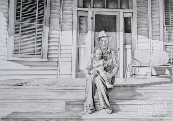 Front Porch Drawing - Me And My Grandad by Pamela Iris Harden