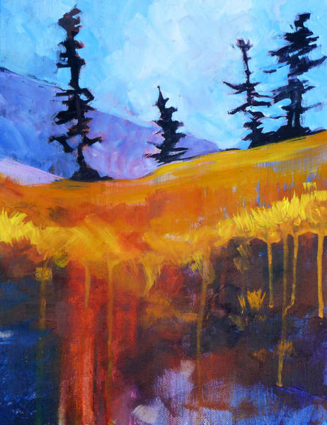 Prairie Grass Painting - Meadow Mountain by Nancy Merkle