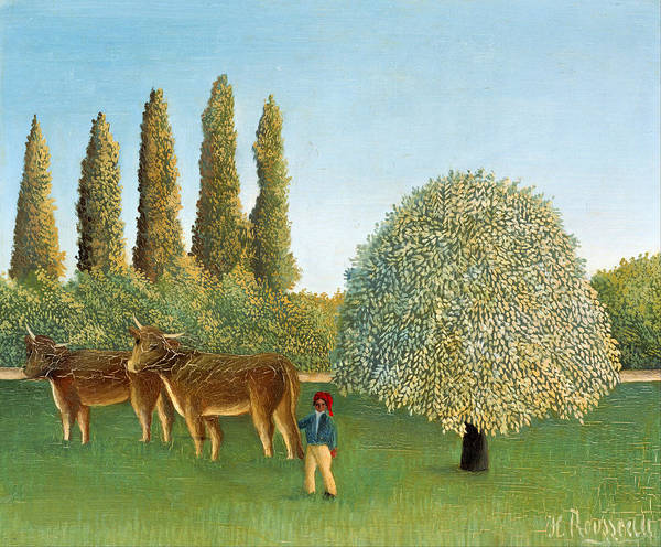 Meadowlands Painting - Meadowland. The Pasture  by Henri Rousseau