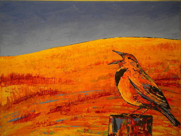 Meadowlark Painting - Meadowlark In Fields by Carolyn Doe