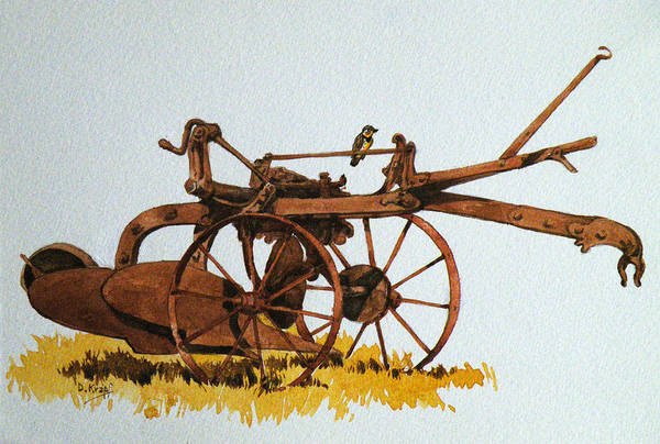 Meadowlark Painting - Meadowlark On Rusty Plow by Dan Krapf