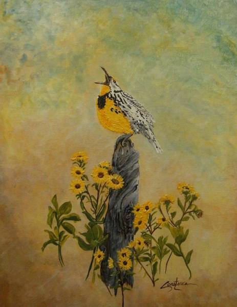Meadowlark Painting - Meadowlark Sings by Connie Rowsell