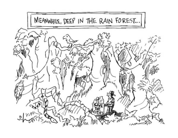 Rural Drawing - Meanwhile, Deep In The Rain Forest by Sidney Harris