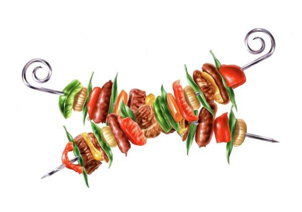 Barbecue Photograph - Meat And Vegetable Skewers by Leonello Calvetti/science Photo Library