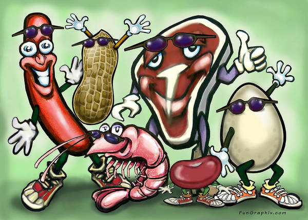 Protein Painting - Meats Protein Food Group by Kevin Middleton