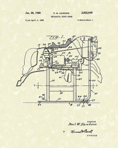 Drawing - Mechanical Horse 1960 Patent Art by Prior Art Design