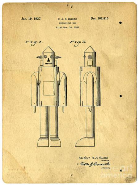 Photograph - Mechanical Man Patent by Edward Fielding