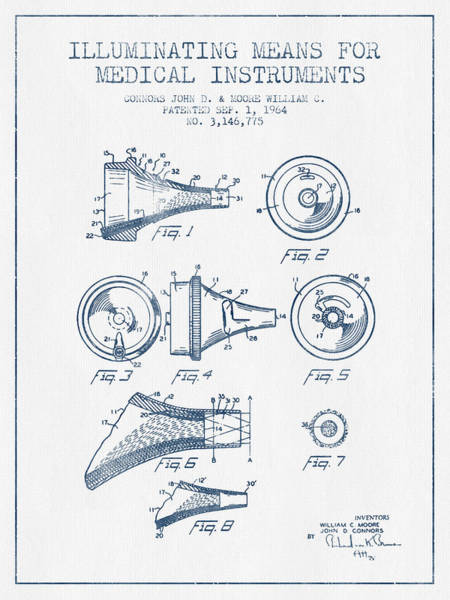 Device Digital Art - Medical Instrument Patent From 1964 - Blue Ink by Aged Pixel