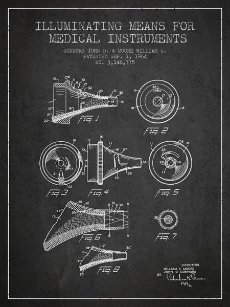 Device Digital Art - Medical Instrument Patent From 1964 - Dark by Aged Pixel