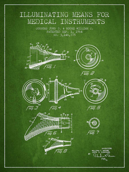 Device Digital Art - Medical Instrument Patent From 1964 - Green by Aged Pixel