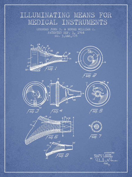 Device Digital Art - Medical Instrument Patent From 1964 - Light Blue by Aged Pixel