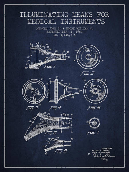 Device Digital Art - Medical Instrument Patent From 1964 - Navy Blue by Aged Pixel