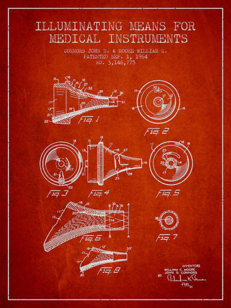 Device Digital Art - Medical Instrument Patent From 1964 - Red by Aged Pixel