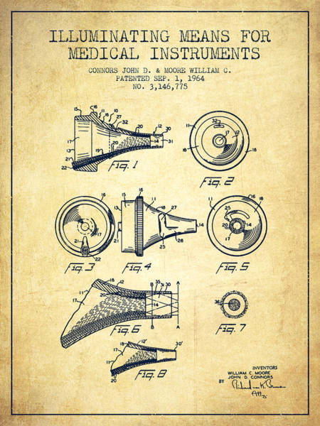Device Digital Art - Medical Instrument Patent From 1964 - Vintage by Aged Pixel