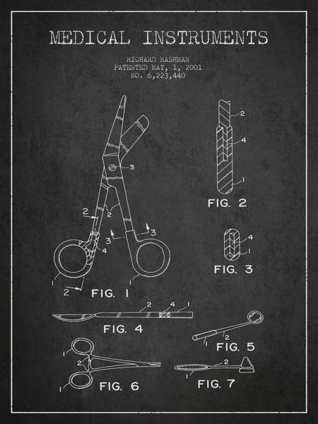 Device Digital Art - Medical Instruments Patent From 2001 - Dark by Aged Pixel