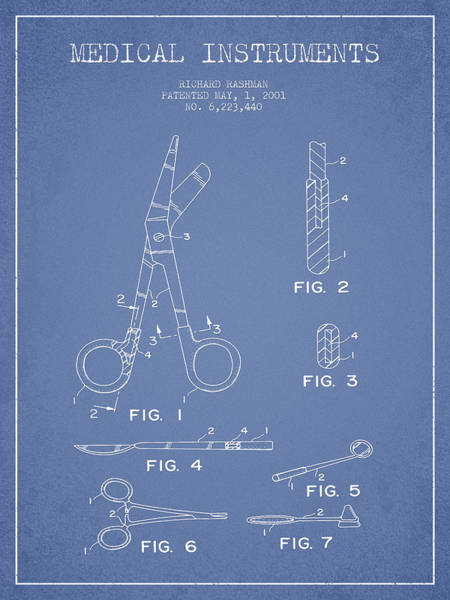 Device Digital Art - Medical Instruments Patent From 2001 - Light Blue by Aged Pixel
