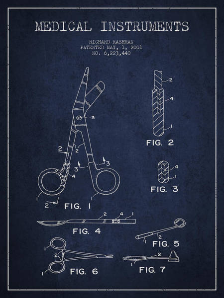 Device Digital Art - Medical Instruments Patent From 2001 - Navy Blue by Aged Pixel