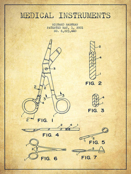Device Digital Art - Medical Instruments Patent From 2001 - Vintage by Aged Pixel