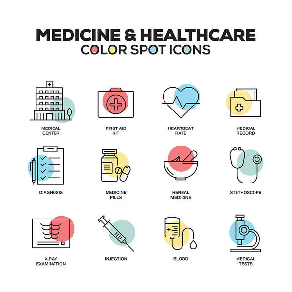 Medicine And Healthcare Icons. Vector Line Icons Set. Premium Quality. Modern Outline Symbols And Pictograms. Art Print by Cnythzl