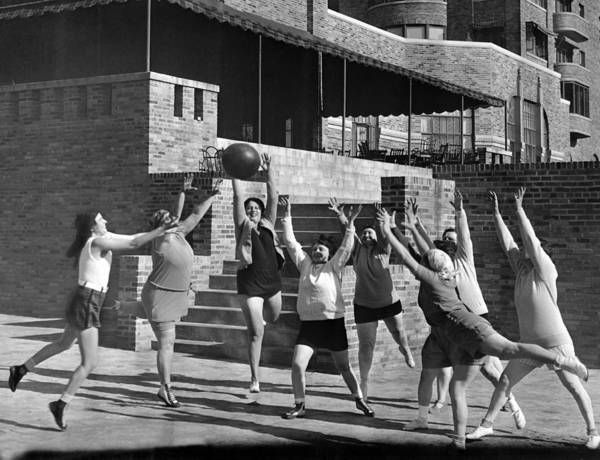 Workout Photograph - Medicine Ball Exercise by Underwood Archives