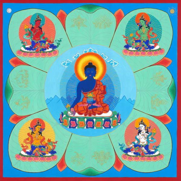 Thangka Painting - Medicine Buddha by Ies Walker