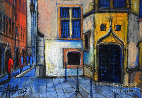 Lyons Wall Art - Pastel - Medieval Architecture In Vieux Lyon France by Mona Edulesco