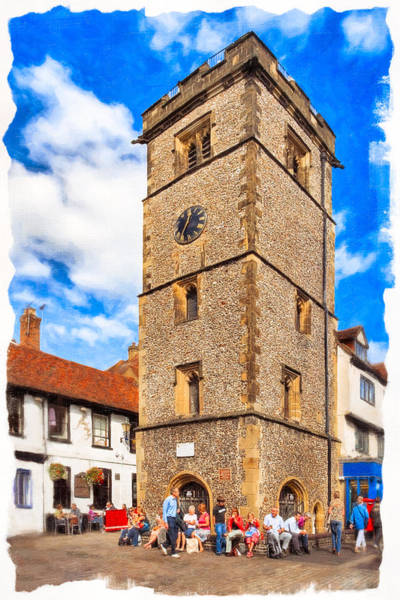 Photograph - Medieval English Village Clock Tower - St Albans by Mark Tisdale