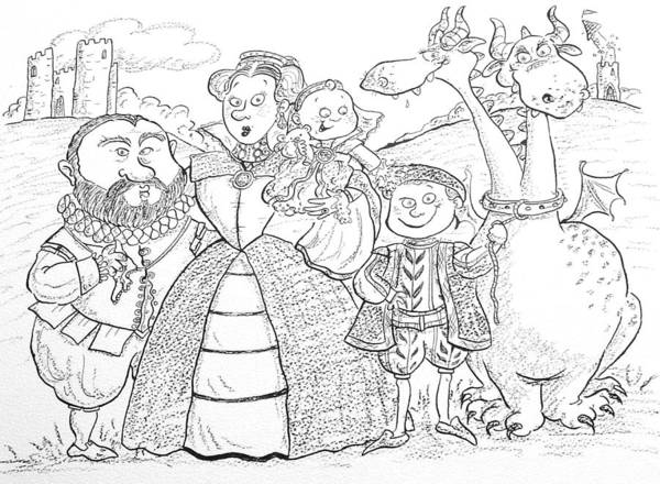Elizabethan Wall Art - Photograph - Medieval Family Portrait Ink & Crayon Paper by Maylee Christie