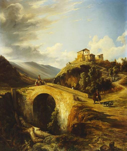 Villa D Wall Art - Painting - Medieval Landscape by Gonsalvo Carelli