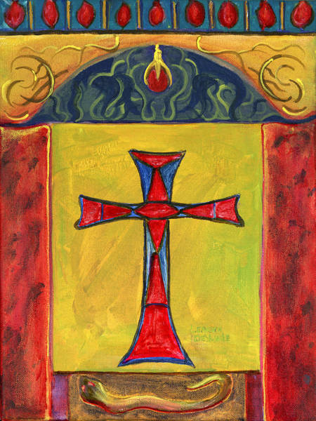 Painting - Medieval Style Symbolic Cross Original Painting by Lenora  De Lude