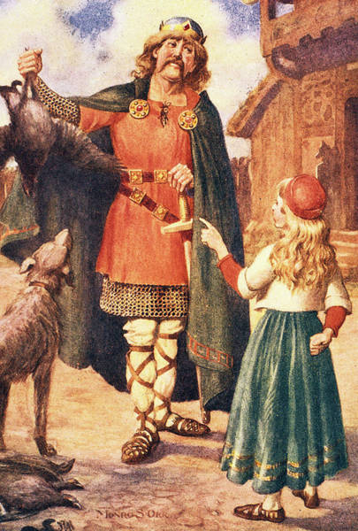 Style Painting - Medieval Viking Father Returning by Vintage Images