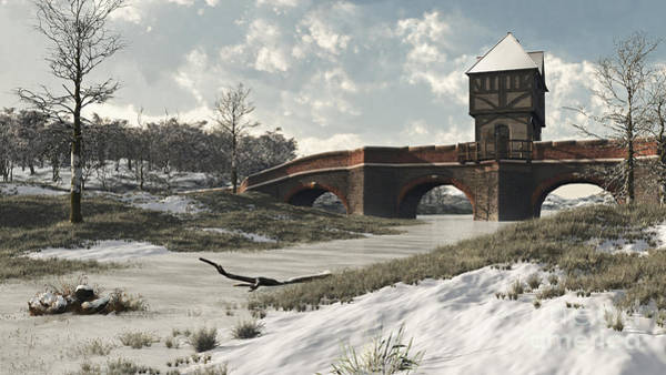 Frozen River Digital Art - Medieval Winter Bridge by Fairy Fantasies