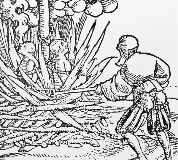 Woodcut Wall Art - Photograph - Medieval Woodcut Of Plague-spreaders Being Burnt by Sheila Terry/science Photo Library
