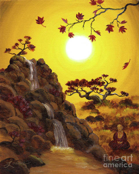 Zen Buddhism Painting - Meditating By A Golden Waterfall by Laura Iverson