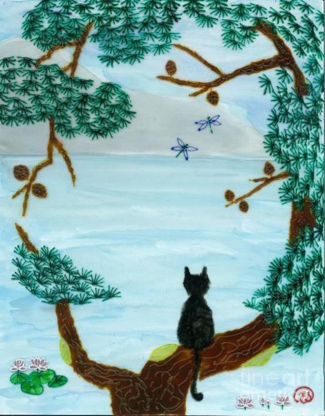 Vitrage Wall Art - Mixed Media - Meditating Cat by Elizabeth Scheglov