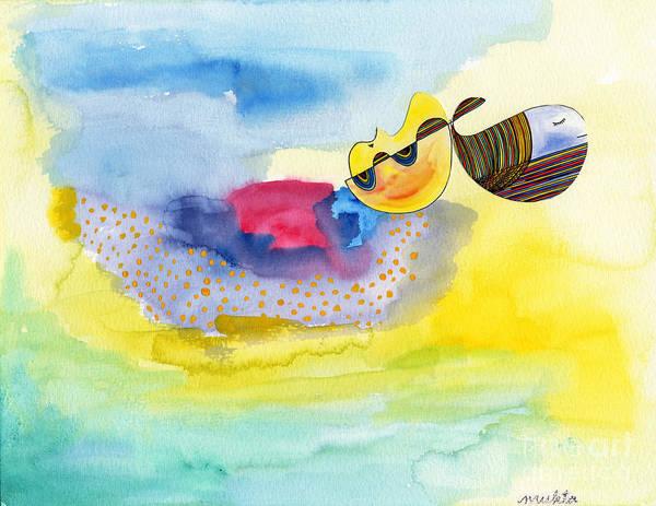 Wall Art - Painting - Meditating Humpback Whale In Ocean by Mukta Gupta