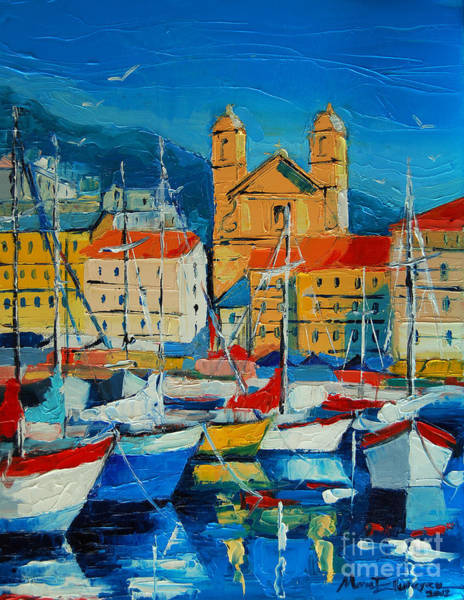 Fishing Boat Painting - Mediterranean Harbor by Mona Edulesco