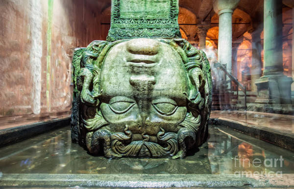 Basilica Cistern Photograph - Medusa Head by Anthony Festa