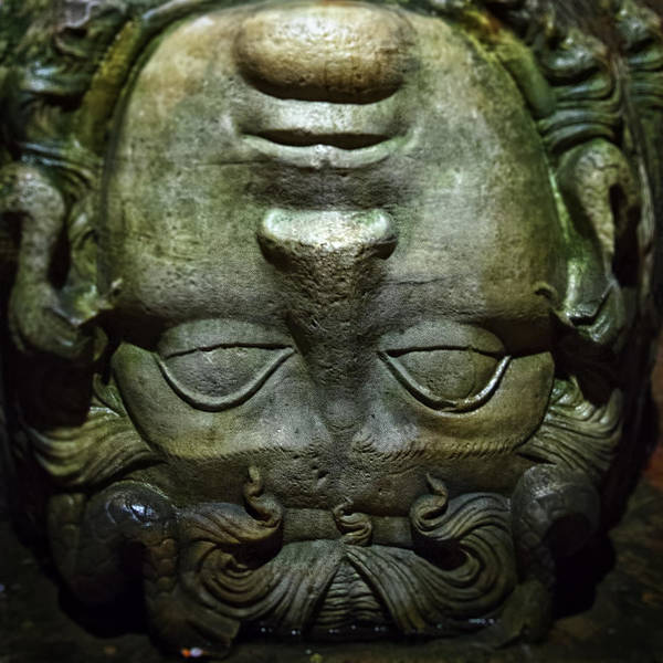 Basilica Cistern Photograph - Medusa Head At The Sunken Cistern Istanbul by For Ninety One Days