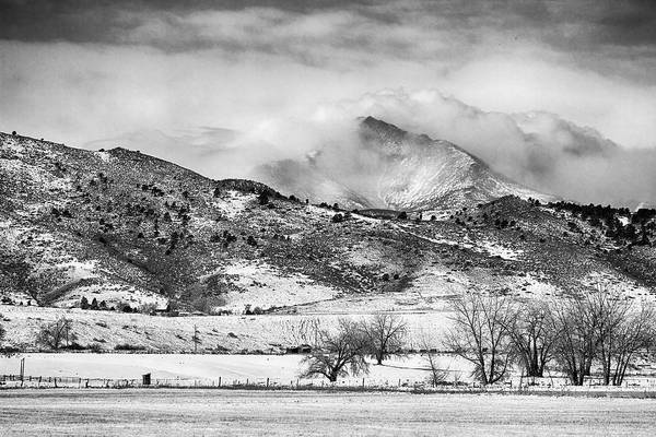 Photograph - Meeker And Longs Peak In Winter Clouds Bw  by James BO Insogna
