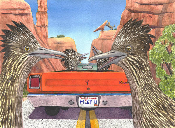 Roadrunner Painting - Meep Them by Catherine G McElroy