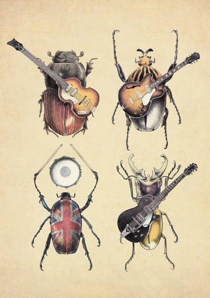 Electric Guitar Wall Art - Digital Art - Meet The Beetles by Eric Fan