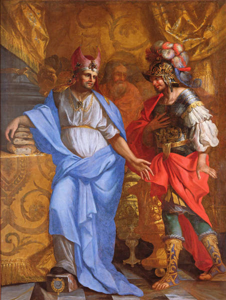 Genesis Photograph - Meeting Between Abraham And Melchizedek Oil On Canvas by French School